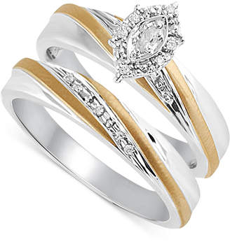 Diamond Accent Engagement Bridal Set in 14k Gold and Sterling Silver