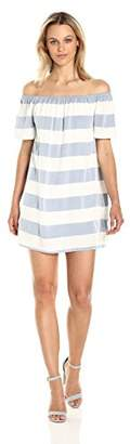 BB Dakota Women's Kash Striped Off The Shoulder Dress