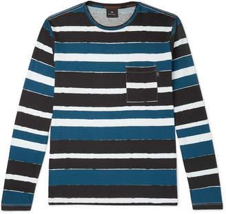Paul Smith Striped Cotton-Jersey T-Shirt - Men - Blue