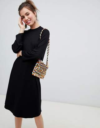 Monki midi jersey t-shirt dress in black