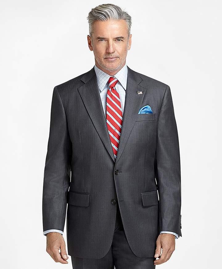 Brooks Brothers Madison Fit Saxxon Wool Light Blue Stripe 1818 Suit
