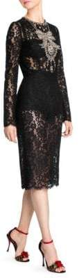 Dolce & Gabbana Dolce& Gabbana Dolce& Gabbana Women's Long Sleeve Lace Embroidered Dress - Black - Size 42 (6)