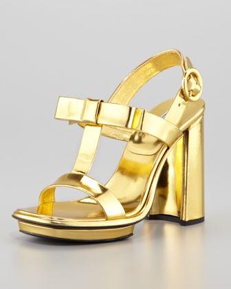 Prada Metallic Specchio Bow T-Strap Sandal
