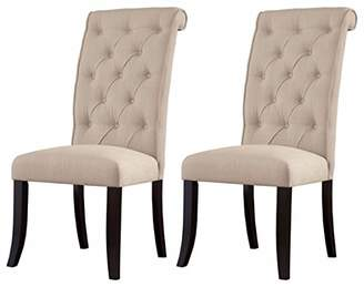 Signature Design by Ashley Ashley Furniture Signature Design - Tripton Dining Room Side Chair Set - Upholstered - Vintage Casual - Set of 2 - Linen