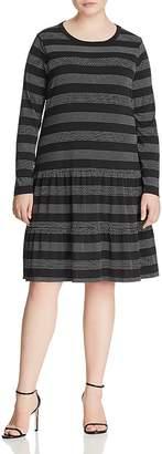 MICHAEL Michael Kors Dotted-Stripe Drop-Hem Ruffle Dress
