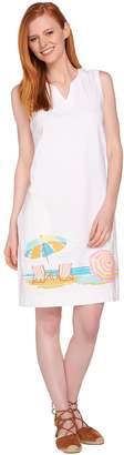 Denim & Co. Beach Sleeveless Cover Up Dress w/ Beach Scene