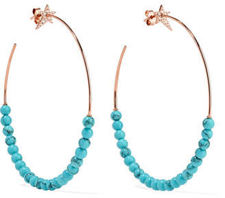 Diane Kordas 18-karat Rose Gold, Diamond And Turquoise Hoop Earrings