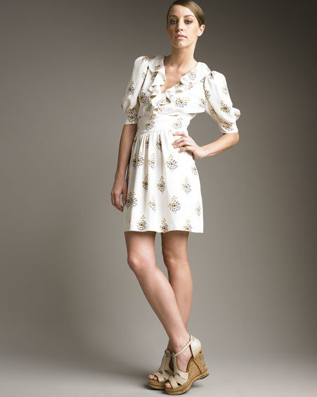 Chloe Ruffled V-Neck Dress
