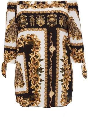 Quiz Curve Black And Gold Scarf Print Tunic Dress