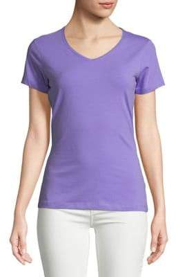 Lord & Taylor Plus Cotton-Blend V-Neck Tee