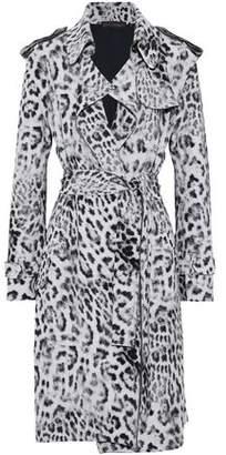 Norma Kamali Leopard-Print Scuba Trench Coat