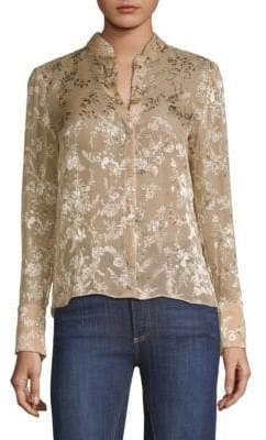 Alice + Olivia Vina Floral Stretch-Silk Blouse