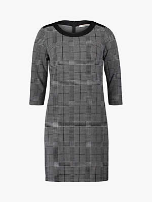 Betty Barclay Houndstooth Check Dress, Black/Cream