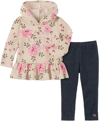 Calvin Klein Little Girl's 2-Piece Floral-Print Hoodie Legging Set