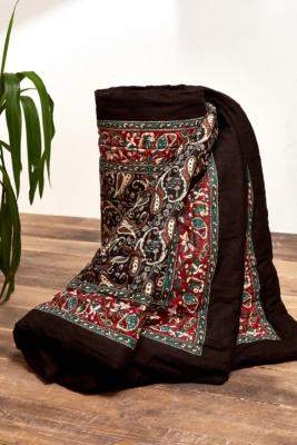Urban Outfitters Black Paisley Quilted Throw Blanket