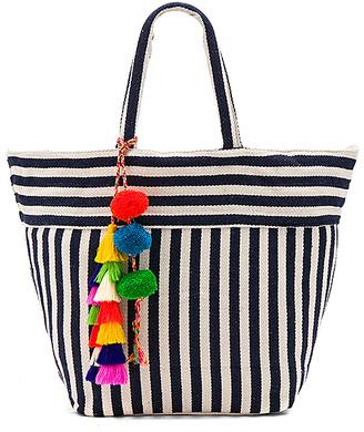 JADEtribe Valerie Multi Tassel Pom Tote Bag in Navy.