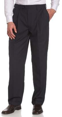 Louis Raphael Men's Luxe 100% Wool Pleated Dress Pant with Hidden Extension Waist Band