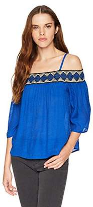Amy Byer A. Byer Junior's Young Women's Teen Off The Shoulder Top with Decorative Stitch Trim