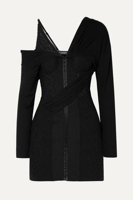 Alexander Wang Draped Lace And Modal-jersey Mini Dress - Black
