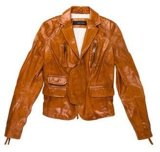 DSQUARED2 Leather Notch-Lapel Jacket