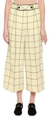 Valentino Windowpane Wool Culottes, Ivory