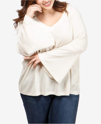 Lucky Brand Trendy Plus Size Waffled Thermal Flared-Sleeve Top