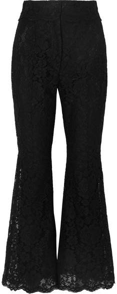 Cropped Guipure Lace Flared Pants - Black