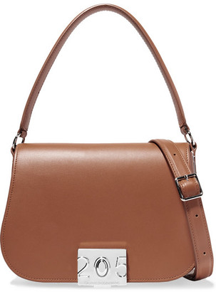 Calvin Klein Bonnie Grosgrain-trimmed Leather Shoulder Bag - Tan