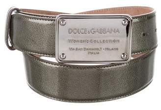 Dolce & Gabbana Patent Leather Flat Buckle Belt