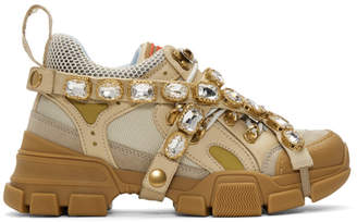 Gucci Beige Crystal Flashtrek Sneakers