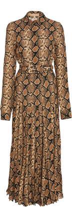 Michael Kors Belted Crushed Silk Shirt Dress