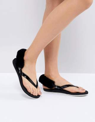 UGG Laalaa Black Fluffy Back Removable Fur Flat Sandals