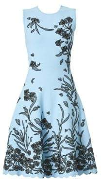 Carolina Herrera Floral A-Line Knit Dress