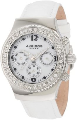 Akribos XXIV Women 's akr449 W Ultimate Swiss Chrono White Watch