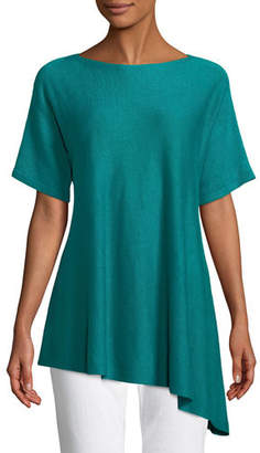 Eileen Fisher Short-Sleeve Asymmetric Linen Top