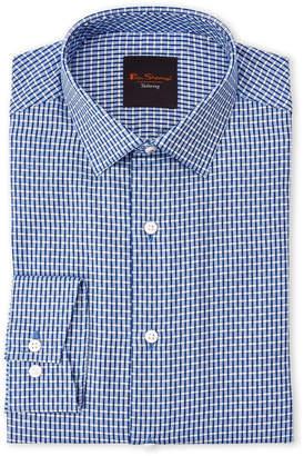 Ben Sherman Blue Check Slim Fit Dress Shirt