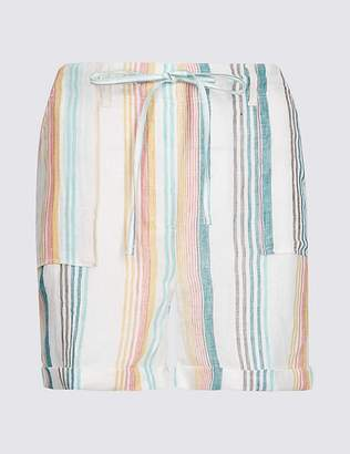 Marks and Spencer Pure Linen Striped Casual Shorts