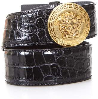 Versace Medusa Embossed Black Leather Belt