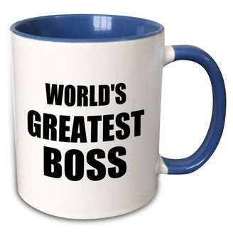 Boss Black 3dRose Worlds Greatest text. great design for the best boss ever - Two Tone Blue Mug, 11-ounce
