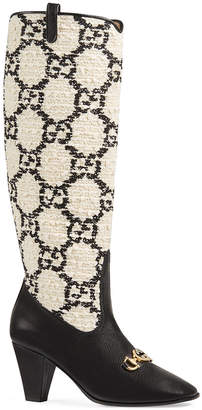 Gucci Zumi GG Tweed Knee Boots