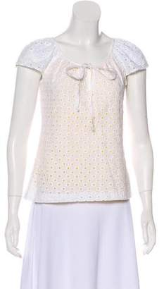 Trina Turk Embroidered Cap Sleeve Top