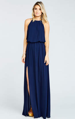 Show Me Your Mumu Heather Halter Dress ~ Rich Navy Crisp