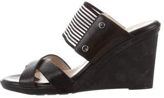 Aquatalia Leather Crossover Wedges
