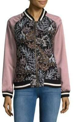 Goldie Embroidered Floral Bomber Jacket