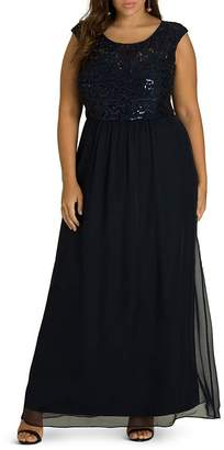 City Chic Plus Sweet Love Sequined Lace & Chiffon Maxi Dress
