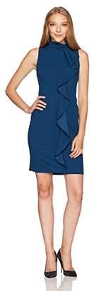 Adrianna Papell Women's Knit Crepe Mock Neck Sheath Dress Petite
