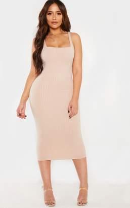 PrettyLittleThing Shape Stone Ribbed Square Neck Midi Dress