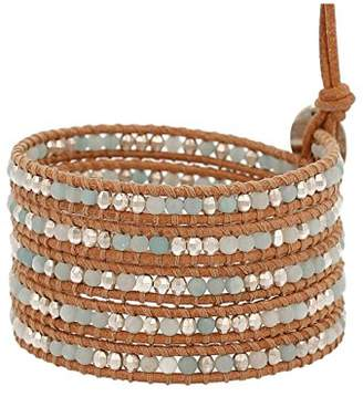 Chan Luu Multi Amazonite Bead Wrap Bracelet on Leather