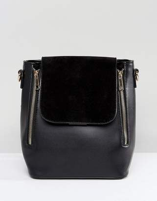 Liquorish Minimal Double Zip Backpack