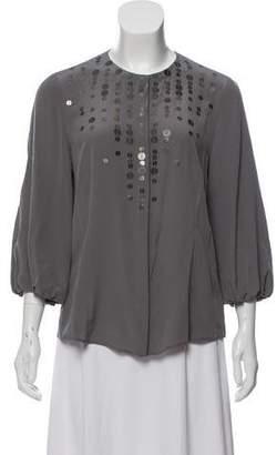 Akris Punto Silk Embellished Blouse